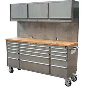 72 inch 15 drawer stainless steel workbench with drawers/movable workbench with wheels
