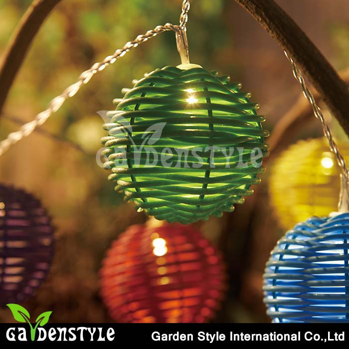 holiday festival dress round colorful rattan led ball string decorative lighting