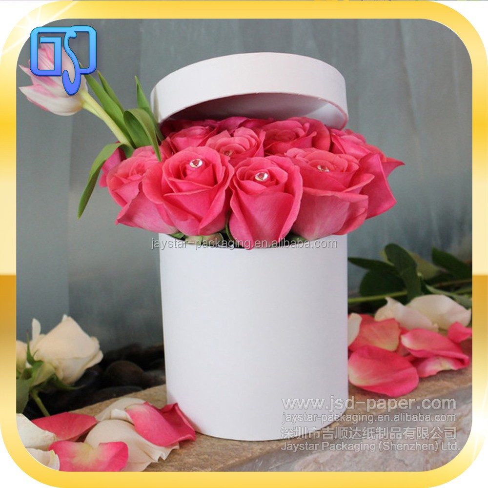 Matte White Color Beautiful Flower Shipping Hat Boxes Packaging For ...