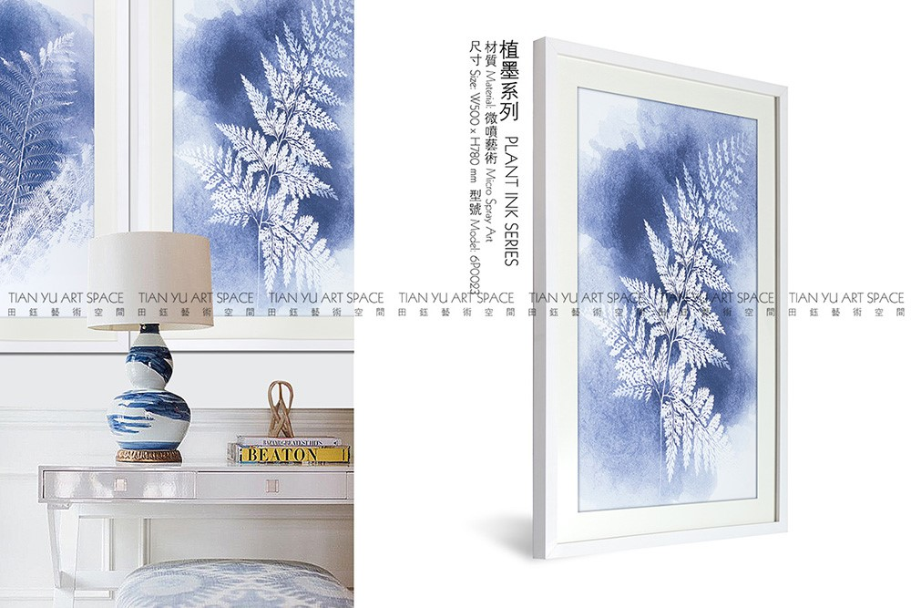 Blue pictures 3d chinese wall paintings oil painting print