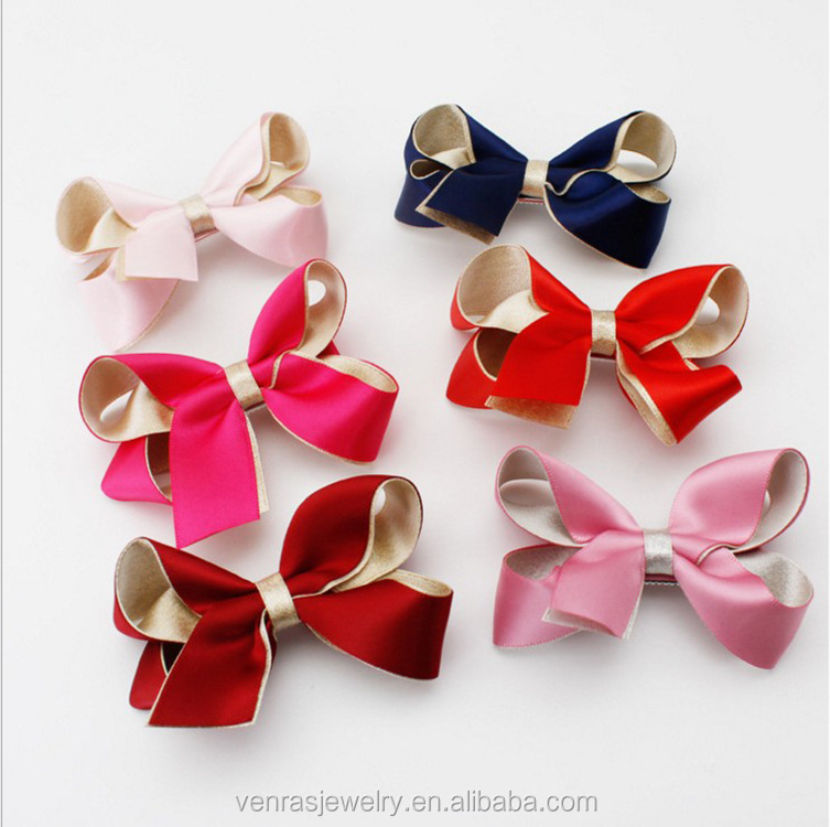 China Factory Vintage 8cm Kids' Cloth Ribbon Bow Hair Barrette Clips