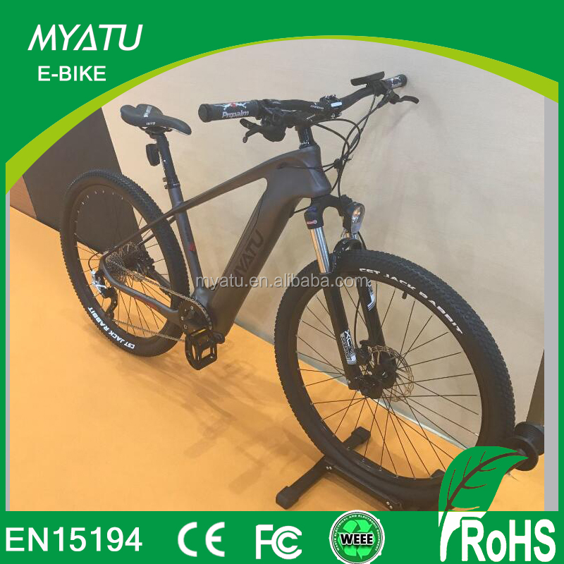 2018 new 28 inch carbon fiber ebike mountain with 350w mid driver motor