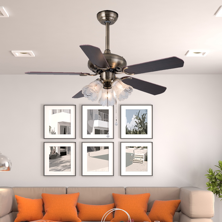 2017 Guzhen lighting market dc motor classic decorative style 5 blades remote control ceiling fan with lamp