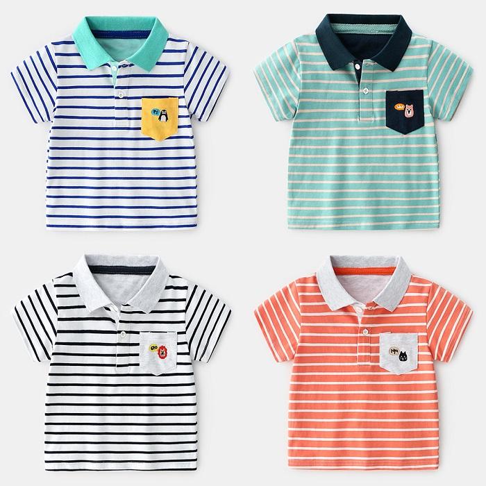 Retail Online Shopping Shanghai Kids Striped Cartoon Cotton Stretch Short-sleeved Polo Organic Cotton T-shirt