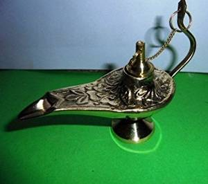 Artcollectibles India Vintage Decorative Brass Oil Lamp Aladin Chirag Brass Incense Burner Handicraft