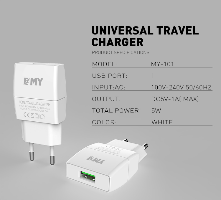 LDNIO SUB BRAND EMY MY-A101 Hot Sale 5v 1a CE Certification Usb Wall Charger For Multi Mobile Phone