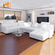 New Design U Shaped Sectional Sofa Luxury Furniture Living Room White Leather Corner Sofa With Couch