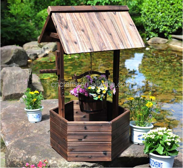 brown wood flower planter/ wishing well /yard lawn garden decor, Garden idea