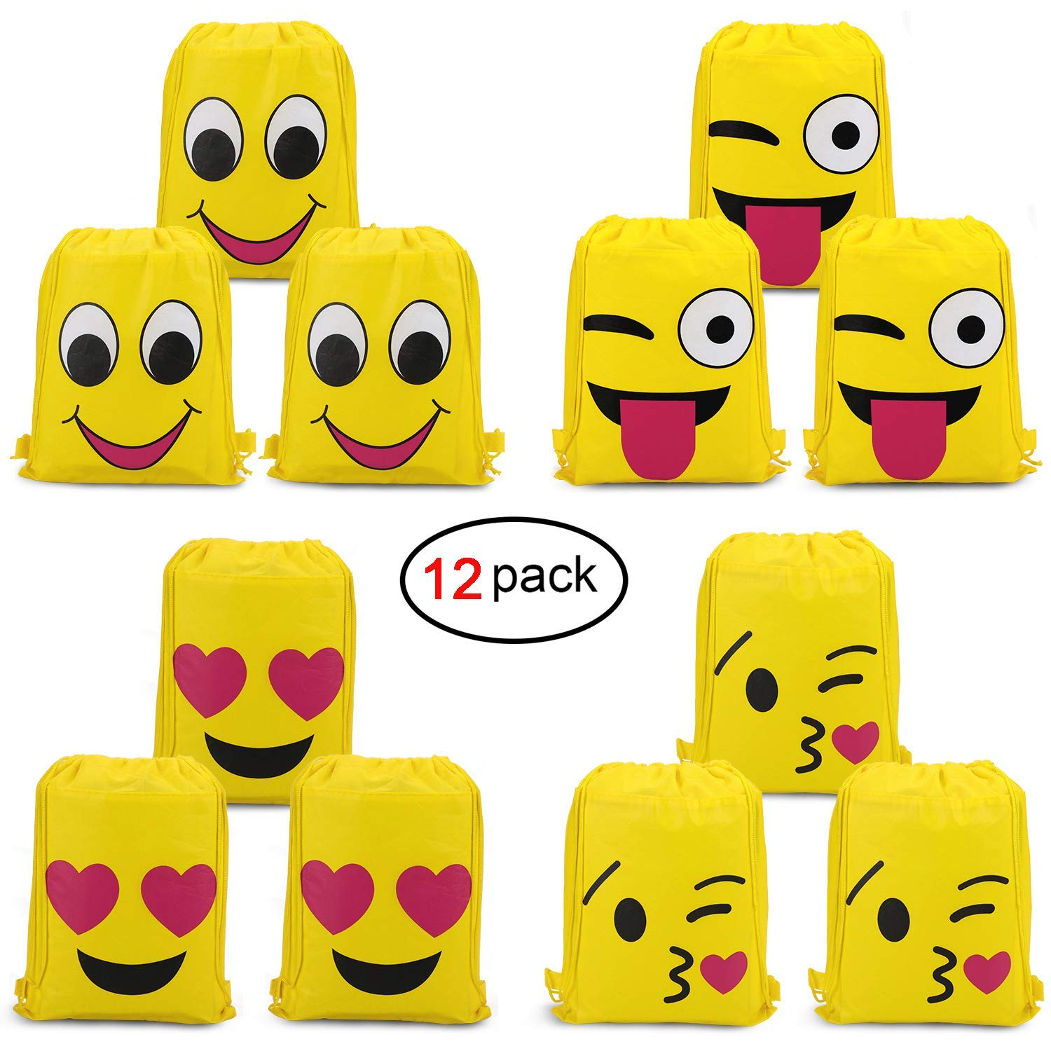 Get Quotations Konsait Emoji Bags For Party Supplies12Pack Drawstring Backpack Shoulder Bag
