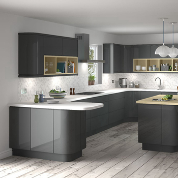 Matt Black Glossy Pvc Laminate Kitchen Cabinets Quartz ...