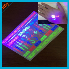 bling UV fluorescent glow tattoo body sticker wholesaler temporary tattoo