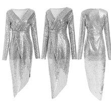 Элегантное роскошное блестящее Макси-платье с v-образным вырезом, с длинным рукавом, официальное платье знаменитостей, подружки невесты, пл...(Китай)