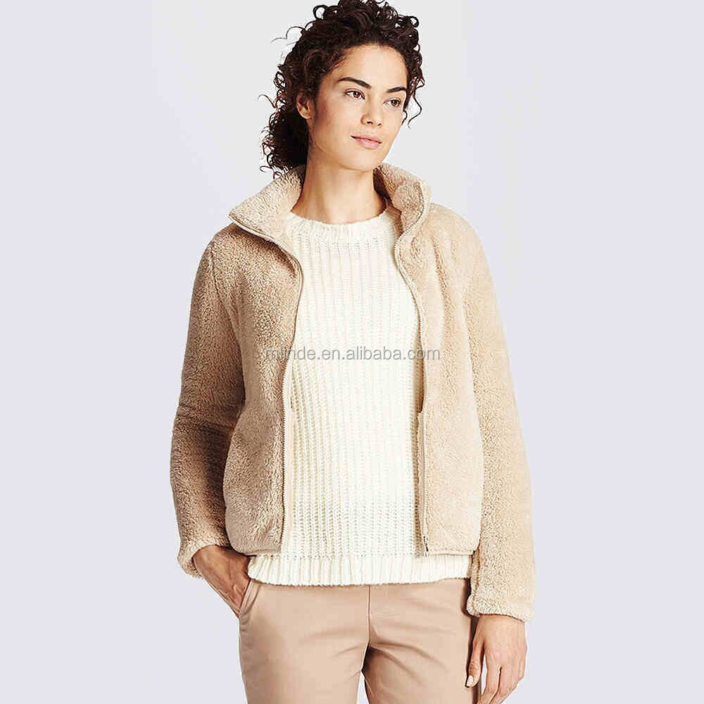 wholesale ladies winter coats plus size fashion casual Long sherpa wool polar fleece latest coat designs for women