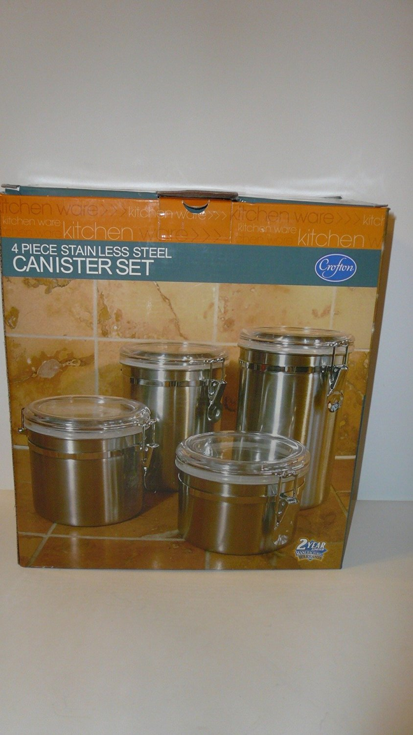 Crofton Stainless Steel 4 Piece Canister Set with See Through Acrylic Lids