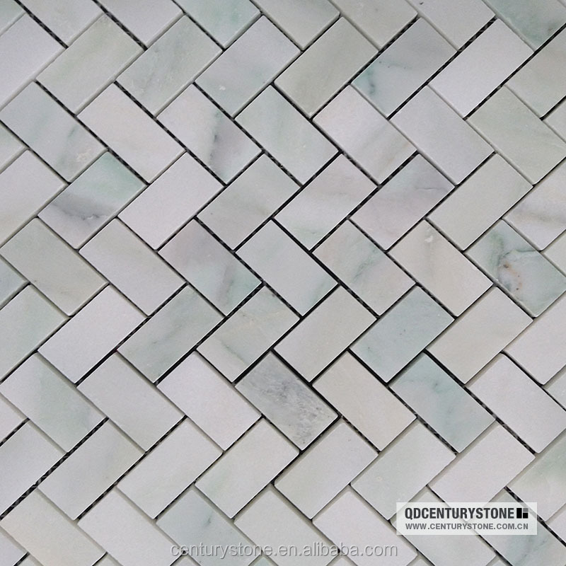 Oriental White Marble Herringbone Outdoor Mosaic Tile For Balcony