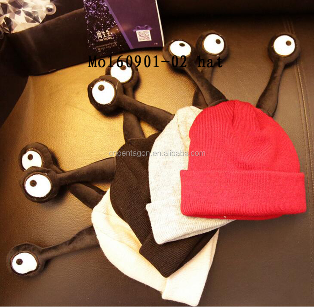 2016 wholesale cute personalized baby hat cotton winter with eyes