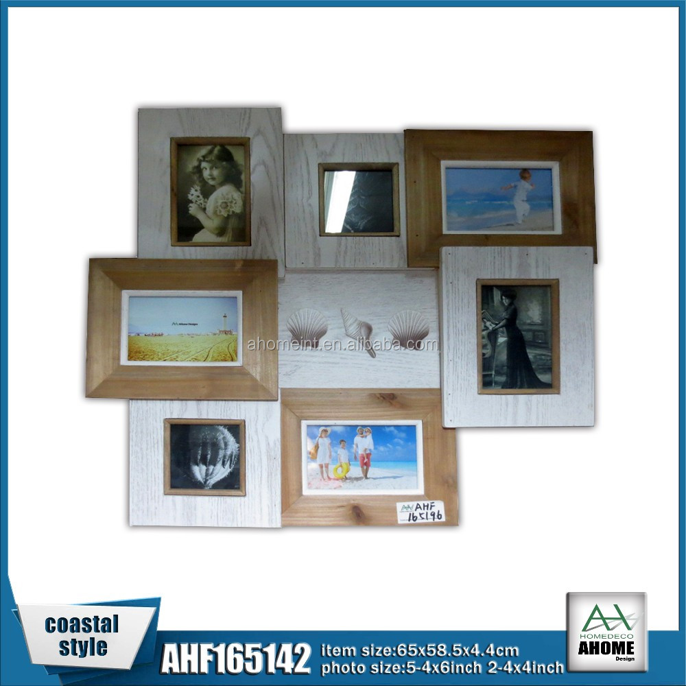 White And Natural Multi Opening Collage Wooden Picture Photo Hanging Decorative Frame,Latest Design Resin Frame