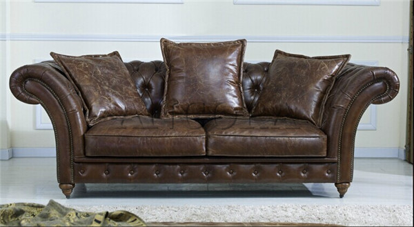 French Style High Wing Back On Tufted Leather Sofa An 3011