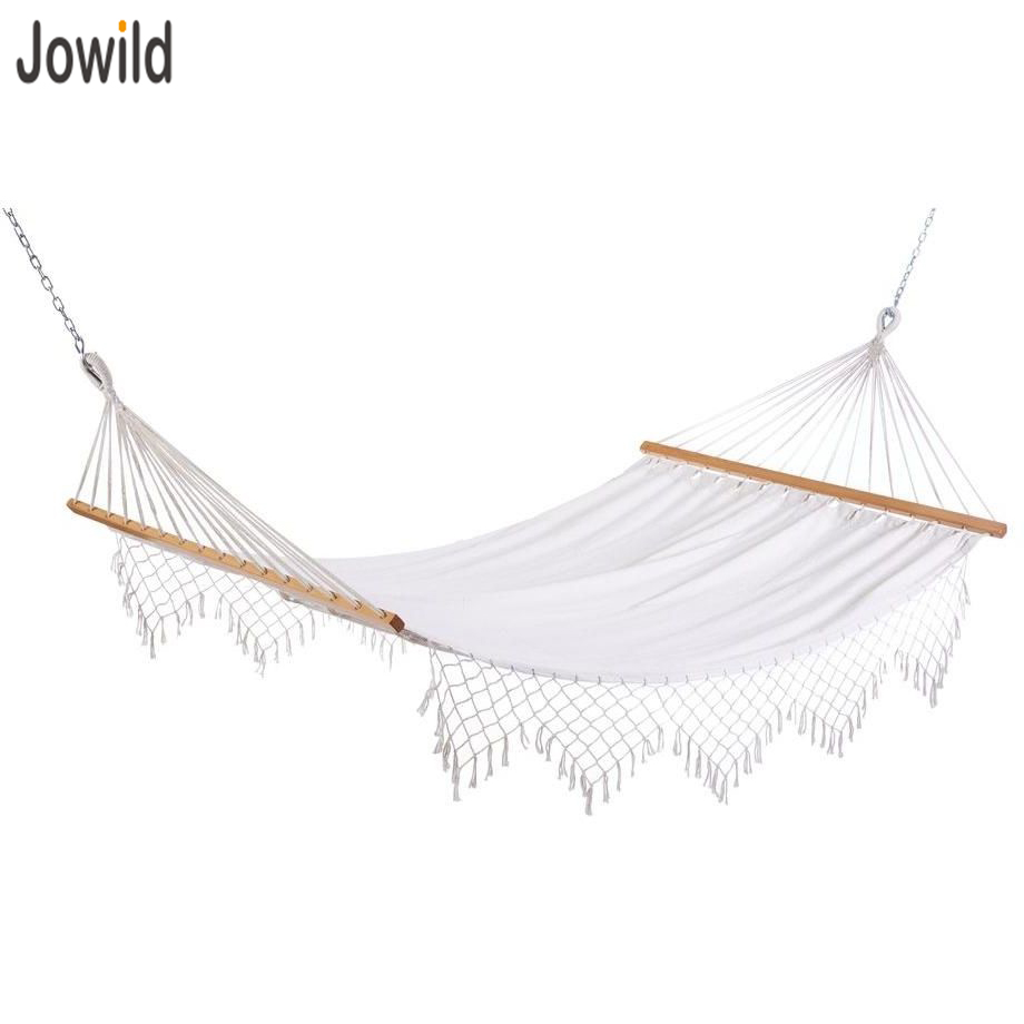 Outdoor Wood Stick Canvas Knit Lace Fringe Hammock for Camoing