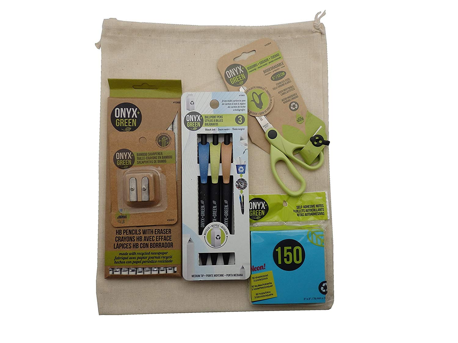 Recycled Sustainable Materials Green Eco Friendly School Supplies Kit - Scissors Sticky Notes Pen Pencils Erasers Sharpener - in a Natural Burlap Carry Bag