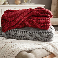 SZPLH Handmade cable knitted plaid throws and blankets