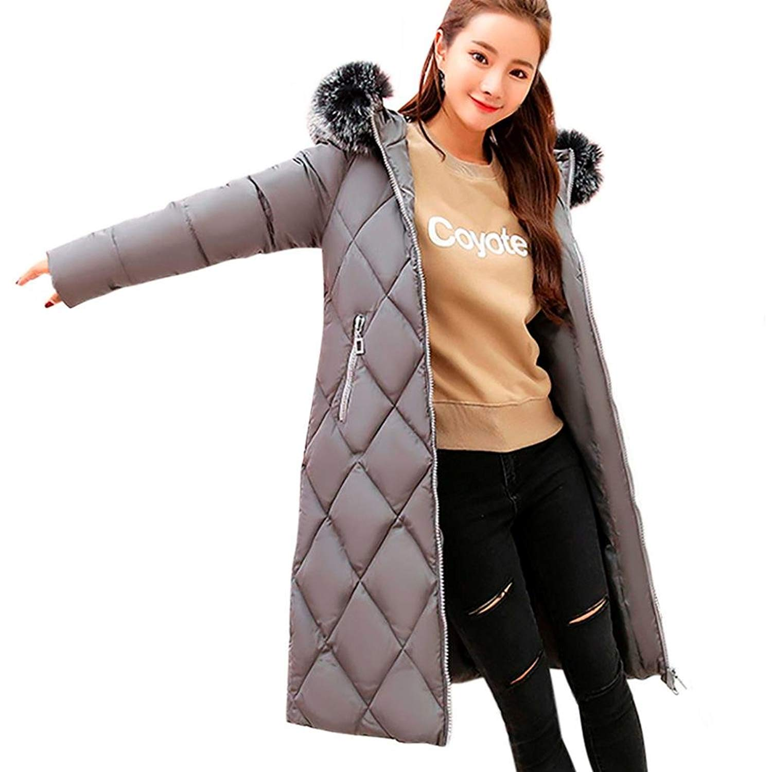 MMUA Women Solid Thicker Winter Slim Warm Lammy Jacket Hair Collar Coat Overcoat