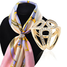 Wholesale Simple Korean Gold And Silver Full Diamond Female Jewelry Accessories Alloy Scarf Ring