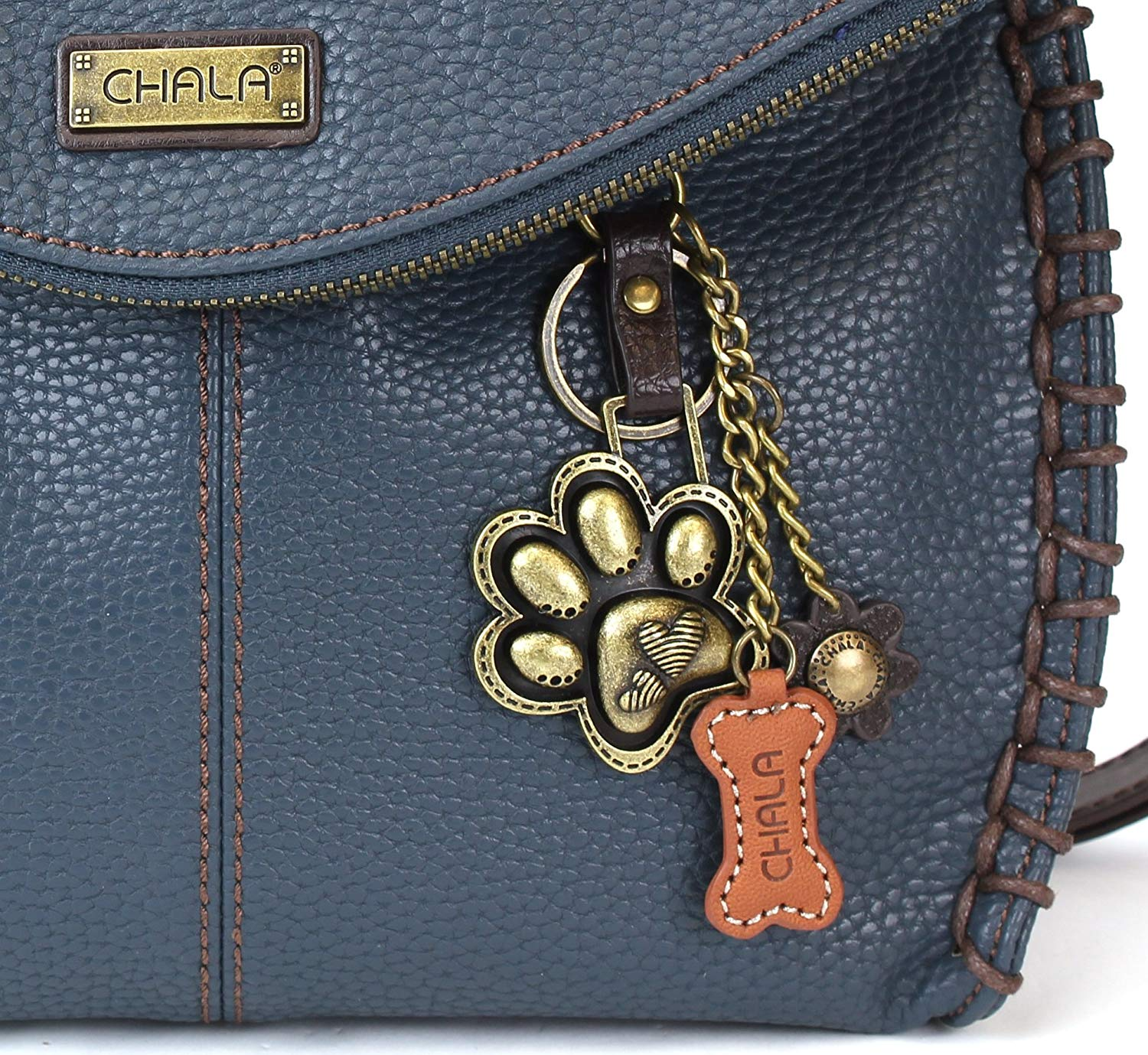 df63893858ff Get Quotations · Chala Charming Crossbody Bag - Flap Top and Metal Key  Charm in Navy Blue