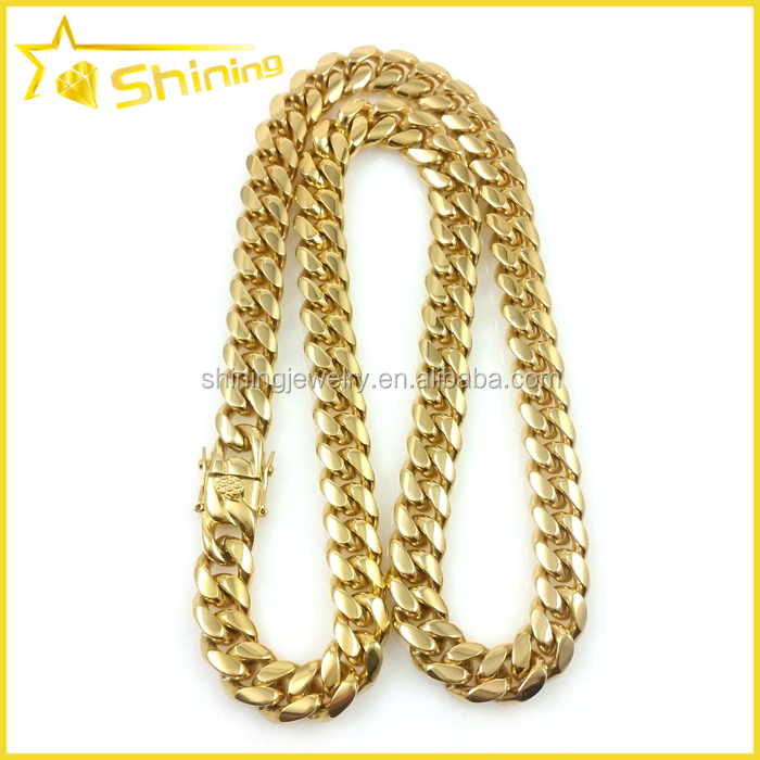 "stainless steel mens 12mm 30"" cuban link chain 14k gold"