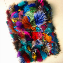 Wholesale Dyed Colorful Mixing Fox Scraps Fur Skins Plates for Jacket&Parka Inner Linned&Garment with Factory Price Plate