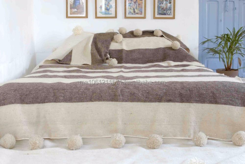couvre lit en laine Marocaine Pom Pom Couverture,Couvre lit,Throw,Tapis,100% Pure  couvre lit en laine