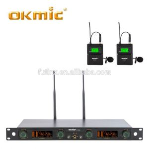 Cost-effective twin belt pack uhf radio microphone system uhf wireless microphone