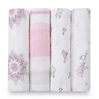 Amazon hot sale folding ajustable beautiful floral large bamboo muslin cloth toddler baby girl blanket swaddle wrap set