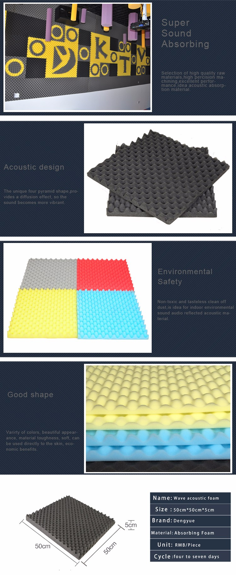 bar safe polyurethane self adhesive sponge insulation Wave acoustic foam