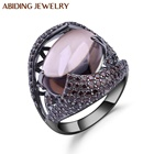 Abiding 2020 Fashion Natural Smoky Quartz Gemstone Ring 925 Sterling Silver Gift Women Party Rings Jewelry