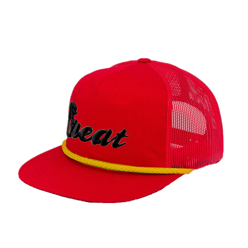 Embroidery Logo Red Mesh Yellow Stripe Rope Flat Bill Snapback Hat Cap
