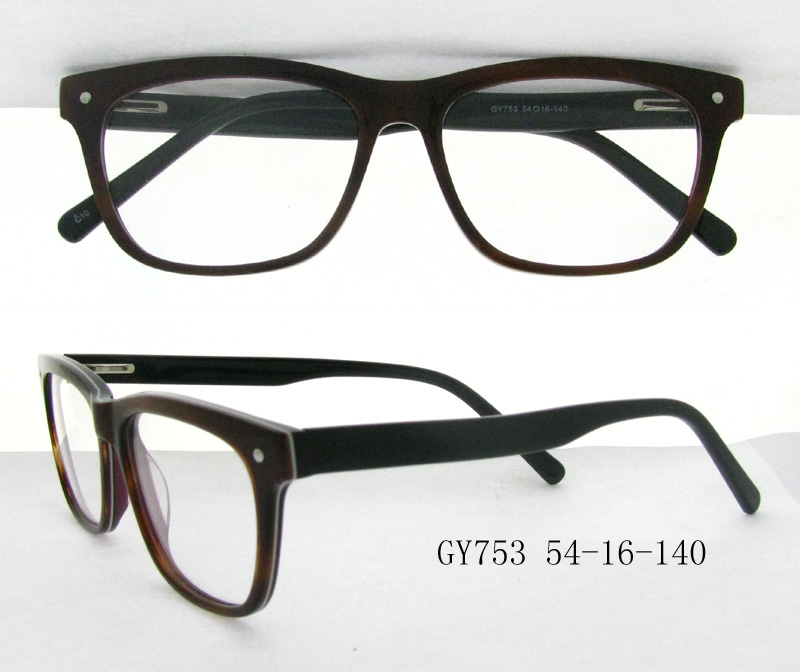 Latest model eye glasses frames cheap acetate sport spectacle frame Model GY753 brown and black mixed color