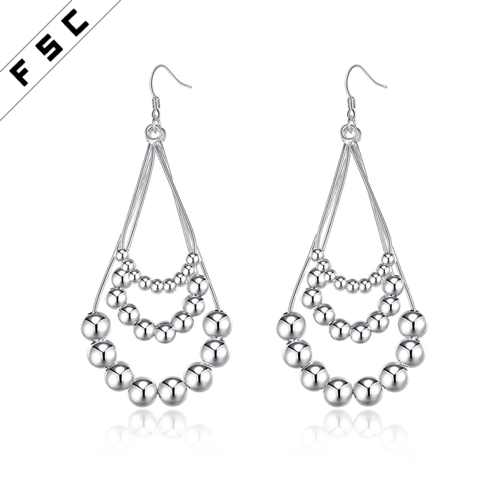 New arrival fine jewelry earrings latest design funky three wire beaded female earrings