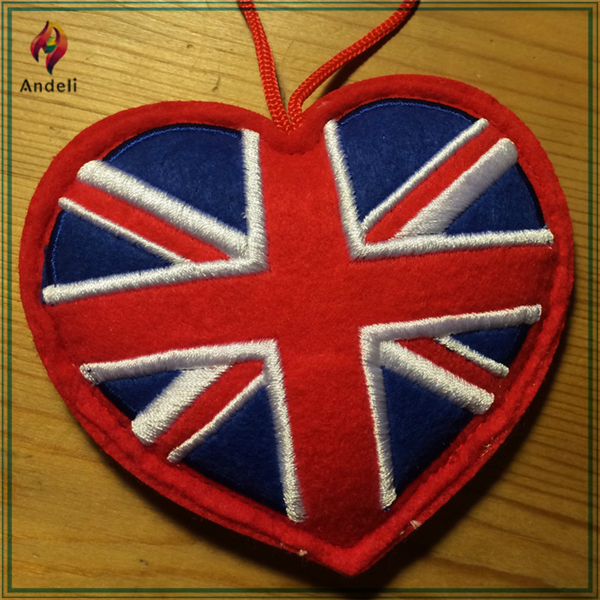 Union Jack heart Christmas tree decoration with felt embroidered tree decoration NEW 10.5cm x 10cm