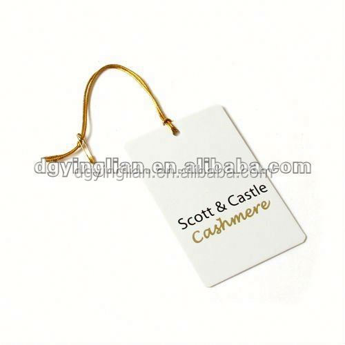 gold string matte lamination off-white paper hang tags for clothing