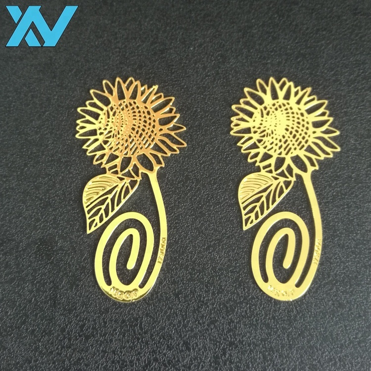 Assorted promotional gift LOGO golden metal bookmark sun flower shaped metal bookmark