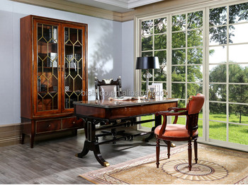 Luxury Royal England Style Home Office Executive Desk, Wooden Veneer  Furniture Set(MOQu003d