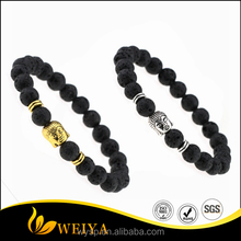 Volcano Lava Rock Silver/Gold Buddha Head Black Beads Bracelet