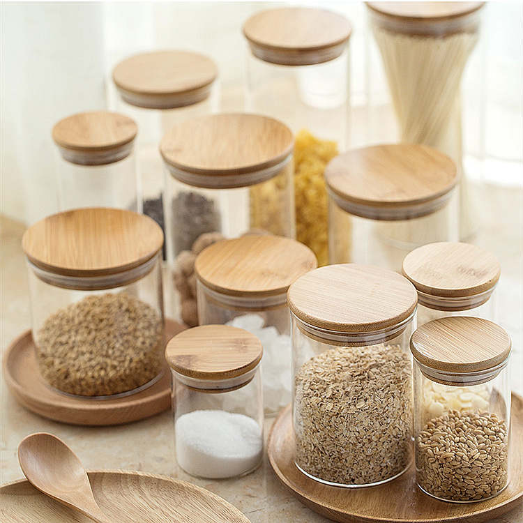 Glass Material and Eco-Friendly Feature borosilicate glass storage jar with bamboo press lid