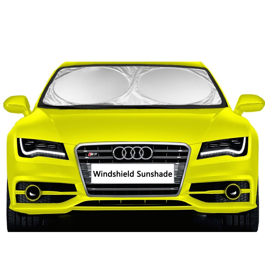 "Car Windshield Sunshade - EveShine Sun shade UV Auto Protector (63"" x 31.5"") - Pop Up Style Retractable Sun Screen Front Window Sun Shade - Fits Most Universal Family Cars"