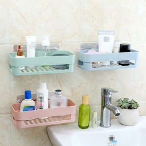 High Quality Creative Adhesive Wall Mounted Plastic Hanging Shelf For Kitchen Bathroom Sundries Storage With Hook