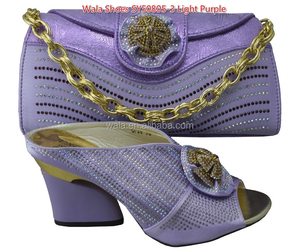 italian matching square heel 3inch light purple shoes and bag set /ladies shoes and matching bag for bride SY50805-3