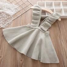Трикотажные платья для девочек, платье на бретелях в европейском и американском стиле с расклешенными рукавами, детская одежда, одежда для ...(Китай)