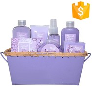 body care lavender spa bath gift set in basket