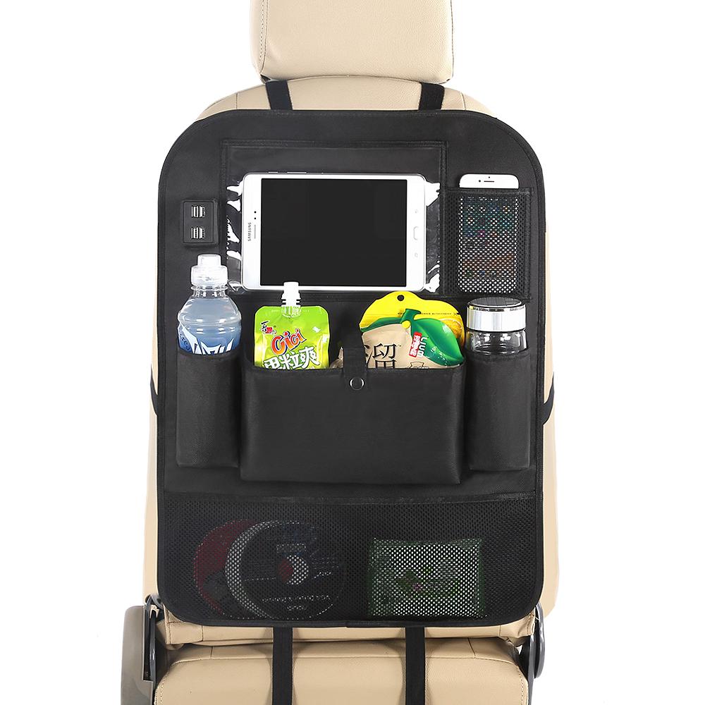 Rücksitzsitz-Organizer-Tasche, Kofferraumtasche mit 4 USB-Ladegeräten